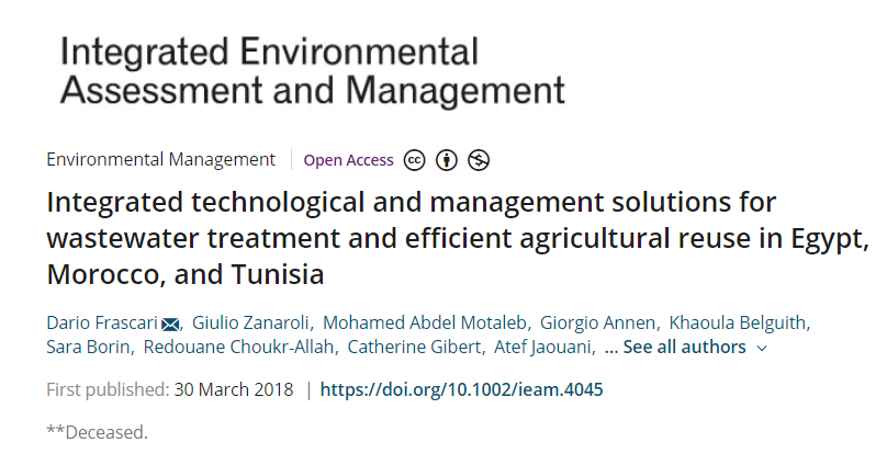 MADFORWATER project screenshot of new published article on wastewater treatment